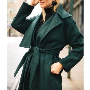 Vince Palm Green Cozy Brushed Wool-Blend Coat
